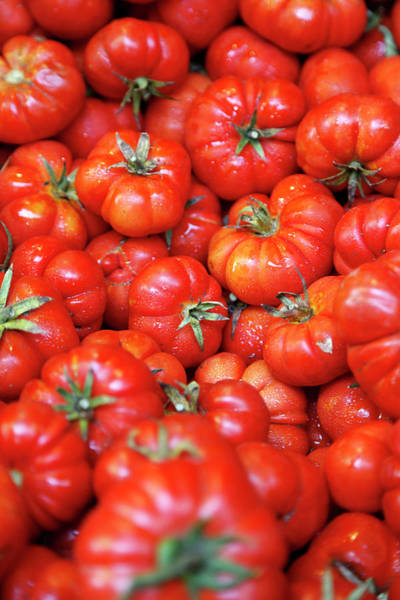 Sicily Photograph - Close Up Of Pile Of Fresh Tomatoes by Pixelchrome Inc