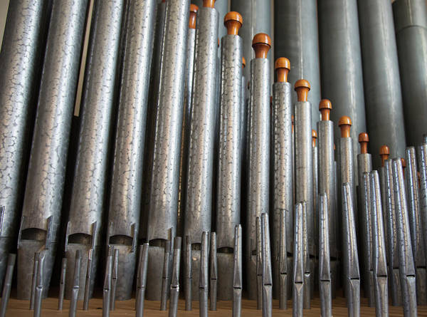 Pipe Organ Photograph - Close Up Of Silver Pipes On A Musical by John Short / Design Pics