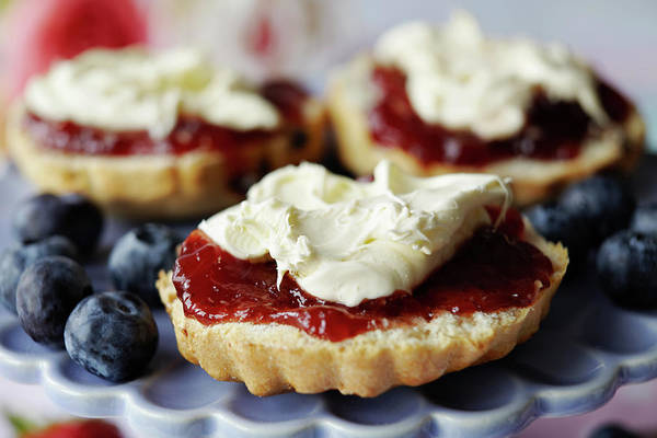 British Food Photograph - Close Up Of Sliced Scone With Jam by Debby Lewis-harrison