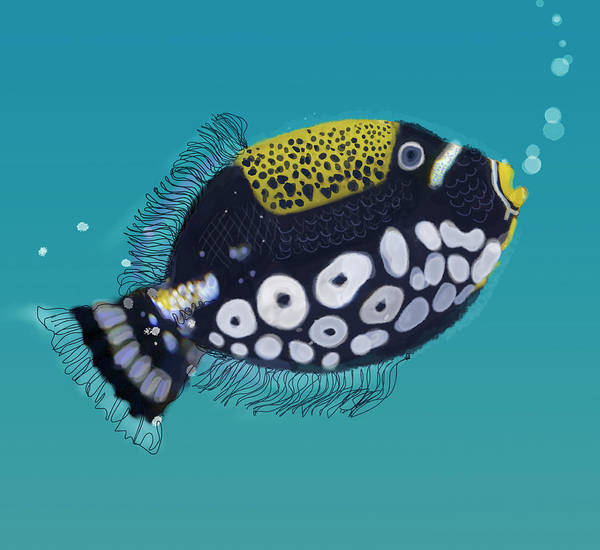 Individuality Digital Art - Close Up Of Spotted Tropical Fish by Jan Richter