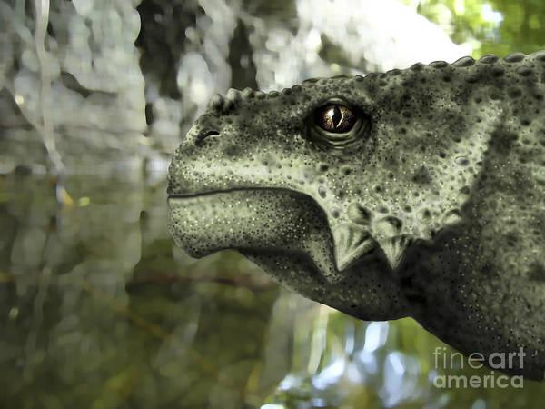 Eyeball Digital Art - Close-up Of The Head Of A Scutosaurus by Yuriy Priymak