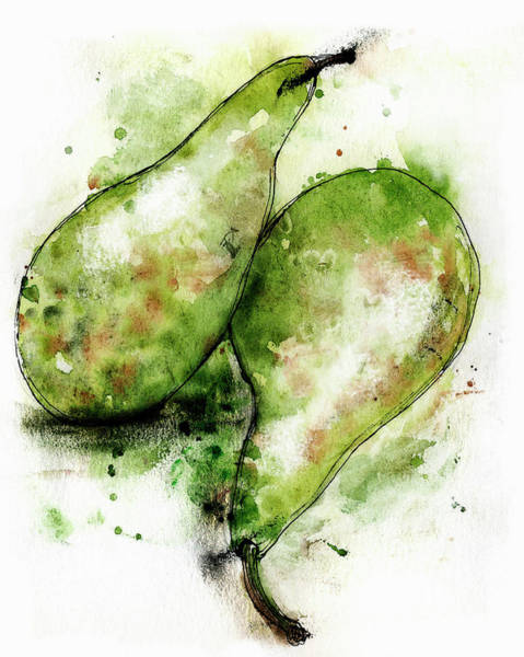 Wall Art - Painting - Close Up Of Two Green Conference Pears by Ikon Ikon Images