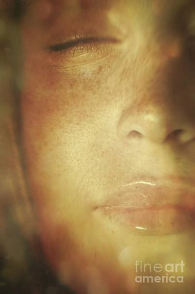 Wall Art - Photograph - Close-up Of  Woman's Face In Dreamlike State by Sandra Cunningham