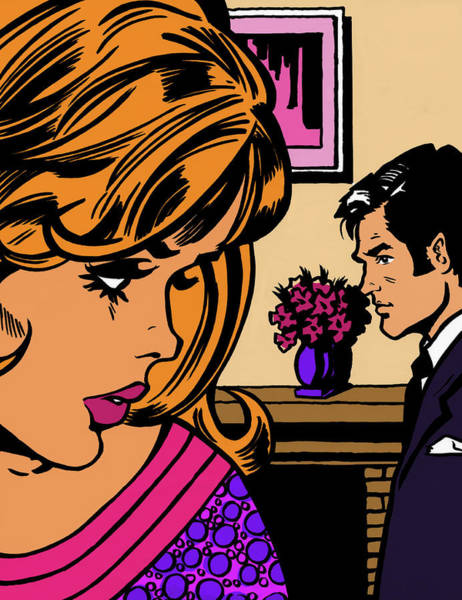 Men Digital Art - Close Up Of Worried Woman Watching Man by Jacquie Boyd