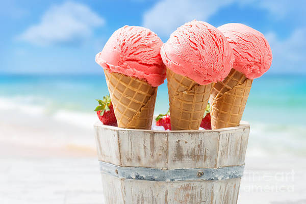 Summer Fun Wall Art - Photograph - Close Up Strawberry Ice Creams by Amanda Elwell