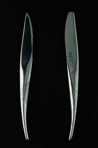 Black Background Photograph - Close-up View Of Two Knives by Romulo Yanes