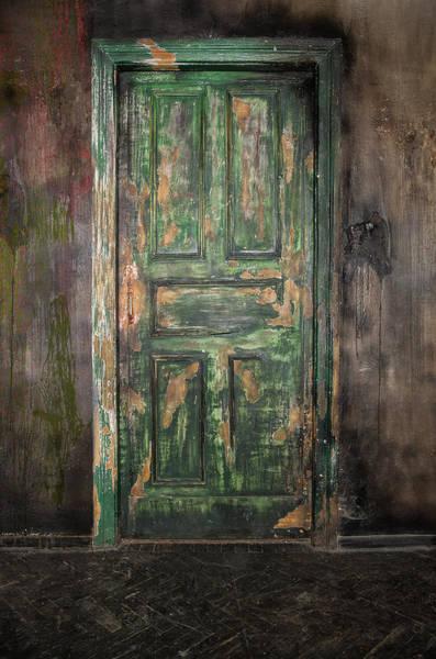 Handle Photograph - Closed Old Wooden Door by Mbongorus