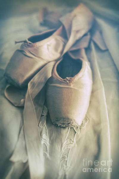 Photograph - Closeup Of Ballet Shoes On Old Lace  by Sandra Cunningham
