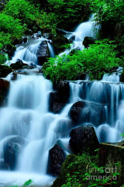 Closeup Of Beautiful Waterfall In Karuizawa Japan Art Print