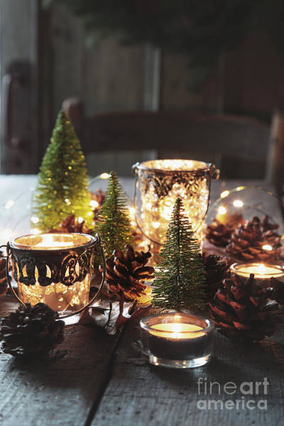 Photograph - Closeup Of Candles And Decorations For The Holidays by Sandra Cunningham