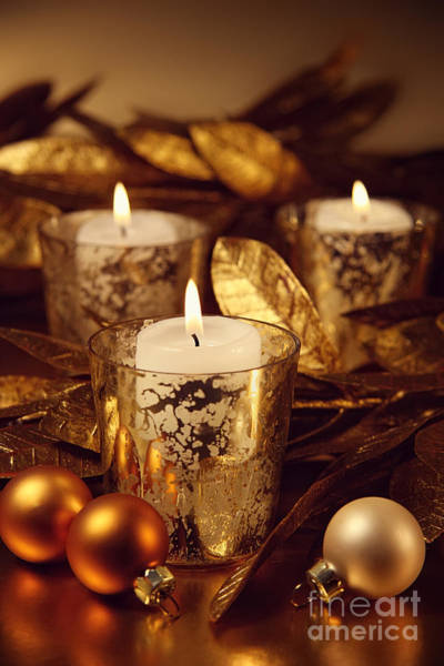 Photograph - Closeup Of Candles Lit With A Sparkling Gold Theme by Sandra Cunningham
