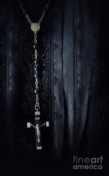 Photograph - Closeup Of Prayer Beads Against Black Morning Dress by Sandra Cunningham