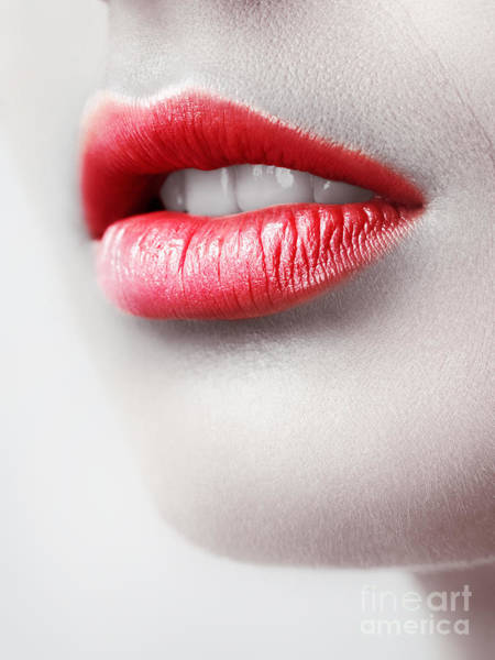 Wall Art - Photograph - Closeup Of Young Woman Red Lips by Oleksiy Maksymenko