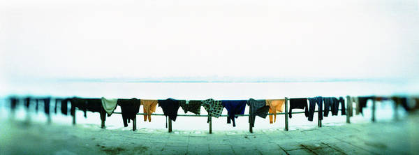 Ganges River Photograph - Clothes Drying At The Riverbank, Ganges by Panoramic Images