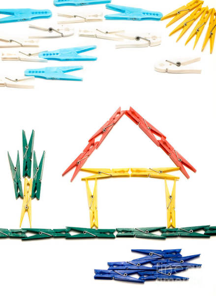 Drafting Photograph - Clothespin House by Sinisa Botas