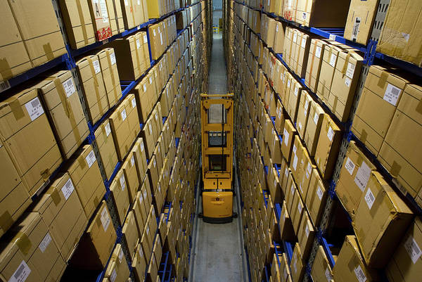 Rack Photograph - Clothing Warehouse by Philippe Psaila/science Photo Library