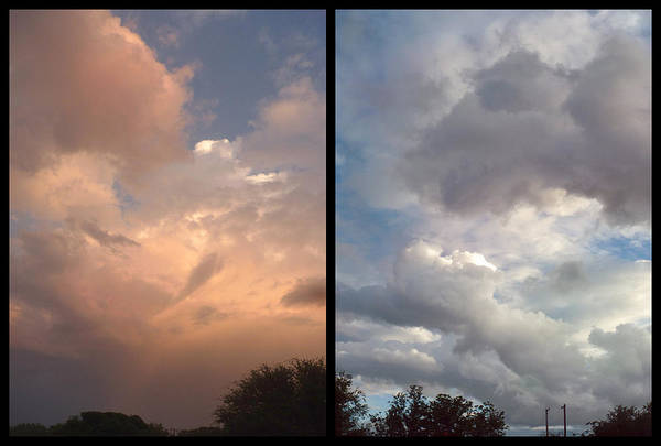 Skyscape Photograph - Cloud Diptych by James W Johnson