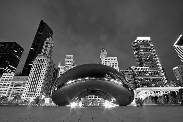 Black Cloud Photograph - Cloud Gate And Skyline by Adam Romanowicz