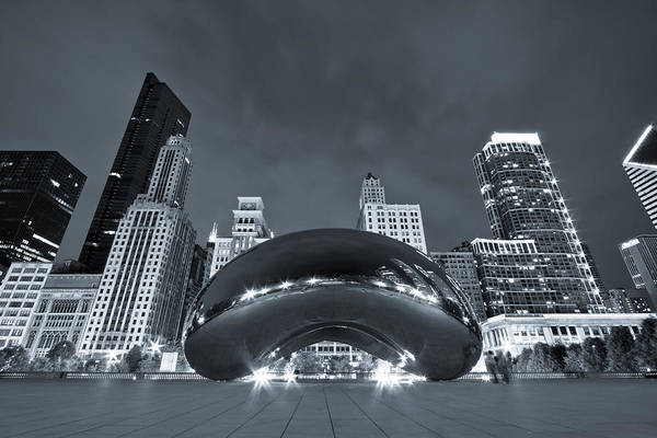 Photograph - Cloud Gate And Skyline - Blue Toned by Adam Romanowicz