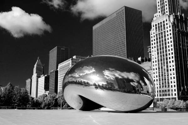 Photograph - Cloud Gate Skyscrapers Black And White by Christopher Arndt