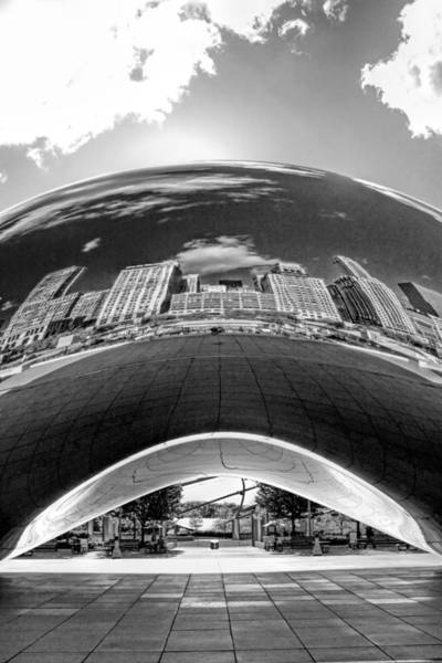 Photograph - Cloud Gate Under The Bean Black And White by Christopher Arndt