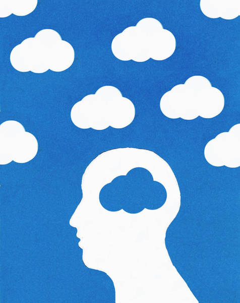 Idealistic Wall Art - Photograph - Cloud Pattern And Mans Head With Blue by Ikon Ikon Images
