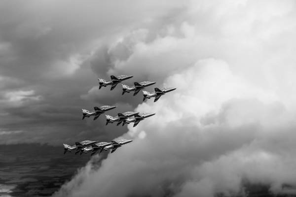 Photograph - Cloud Riders - The Red Arrows Black And White Version by Gary Eason