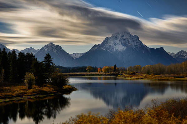 Oxbow Park Photograph - Cloud Trails And Star Trails On Mount Moran by Mike Berenson