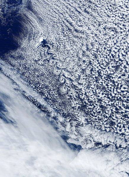 Photograph - Cloud Vortex Street, Satellite Image by Science Photo Library