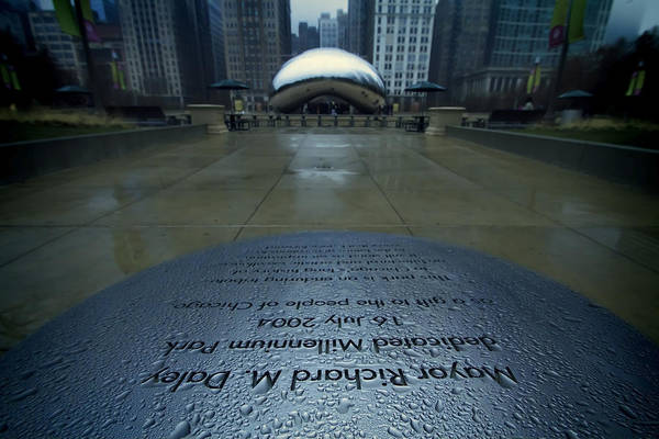 Photograph - Cloudgate With Dedication In Foreground by Sven Brogren