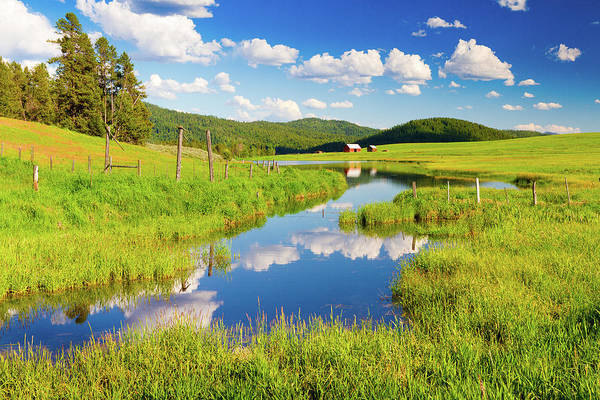 Barn Photograph - Clouds & Red Barn Reflected In Small by Anna Gorin