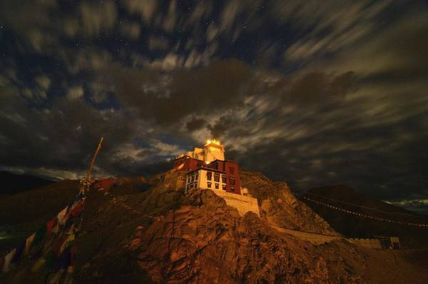 Nepal Wall Art - Photograph - Clouds And Stars Over Tsemo by Aaron Bedell