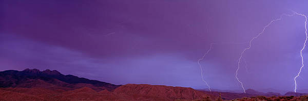 Maricopa Photograph - Clouds Lightning Over The Mountains, Mt by Panoramic Images