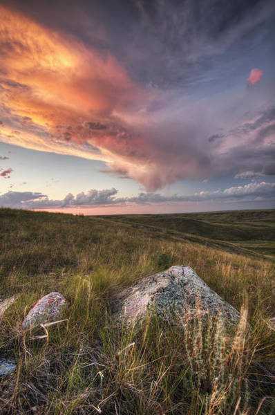 Glacial Erratic Photograph - Clouds Lit At Sunset With Some Glacial by Robert Postma