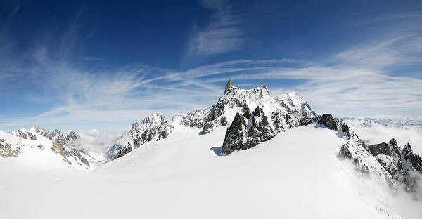 Mont Blanc Wall Art - Photograph - Clouds Over A Snow Covered Mountain by Panoramic Images