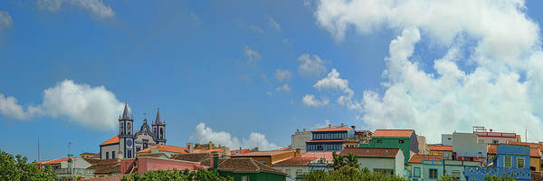 Azores Photograph - Clouds Over Buildings In A City, Praia by Panoramic Images