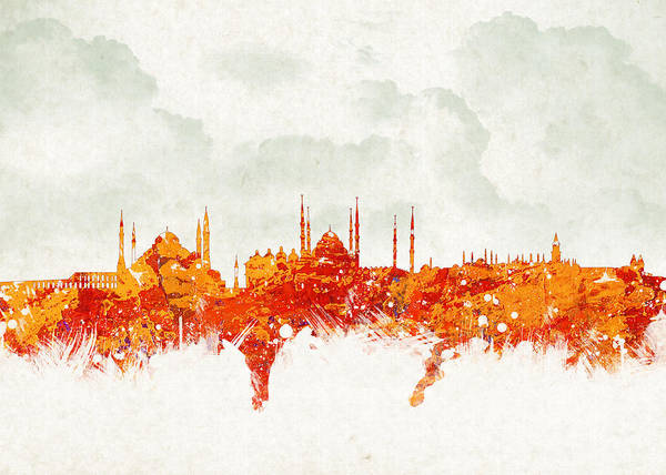 Construction Digital Art - Clouds Over Istanbul Turkey by Aged Pixel
