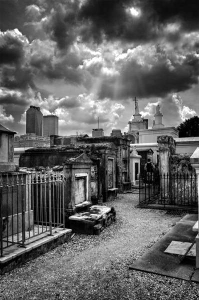 Historic Site Photograph - Cloudy Day At St. Louis Cemetery In Black And White by Greg and Chrystal Mimbs