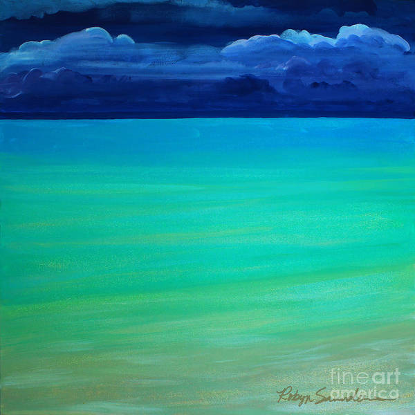 Painting - Cloudy Day At Turquiose Sea Part 1 Left Side by Robyn Saunders