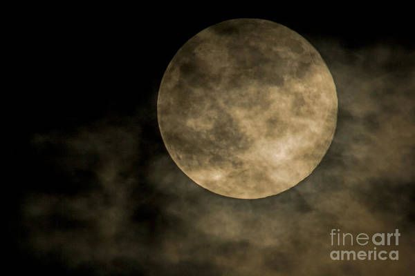 Photograph - Cloudy Moon by Dave Bosse