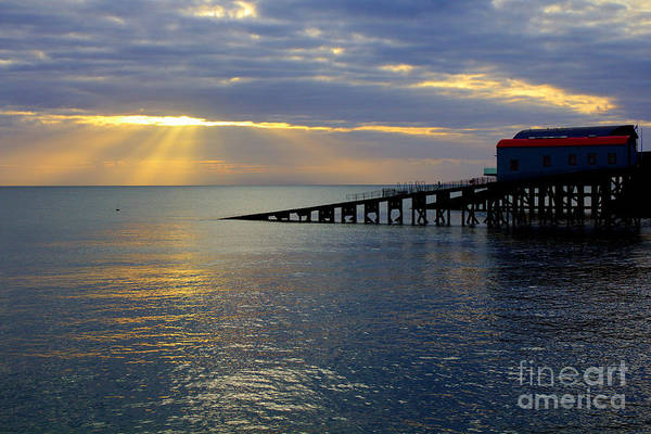 Photograph - Cloudy Tenby Sunrise by Jeremy Hayden
