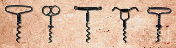Still Life Mixed Media - Clough Single Wire Corkscrews Painting by Jon Neidert