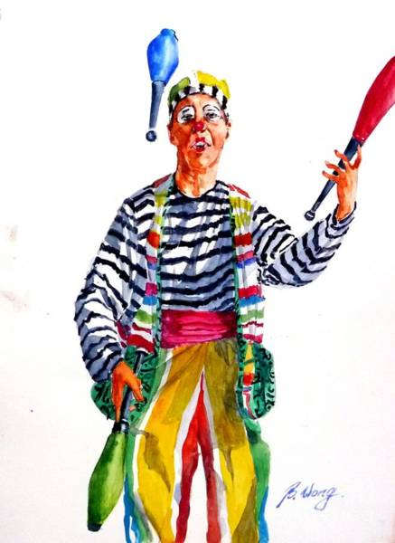 Painting - Clown #2 by Betty M M   Wong