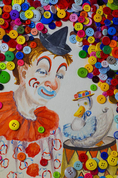 Pastel Drawing Photograph - Clown And Duck With Buttons by Garry Gay