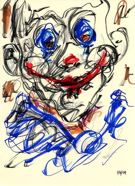 Drawing - Clown Thug V by Rachel Scott