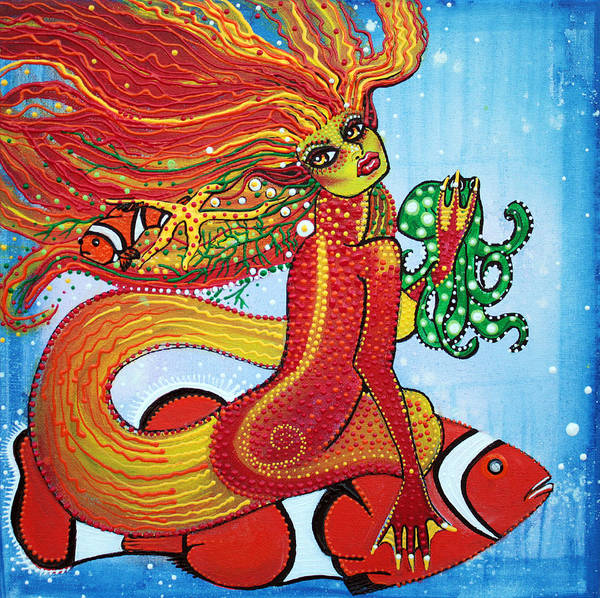 Clownfish Painting - Clownfish Mermaid by Laura Barbosa