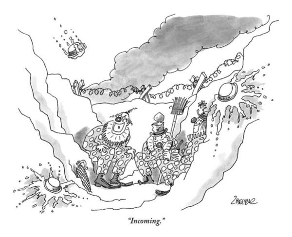 November 2nd Drawing - Clowns Sit In A Bunker by Jack Ziegler