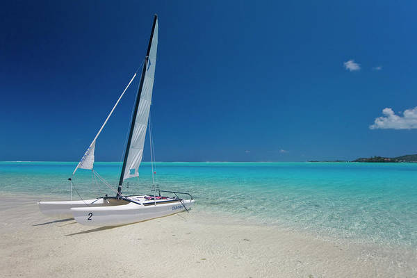 Tropical Climate Photograph - Club Med Sailing Catamaran On Shore Of by Merten Snijders