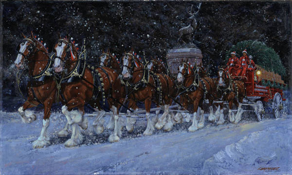 Wall Art - Painting - Clydesdales Coming Through The Gate Snowing by Don  Langeneckert