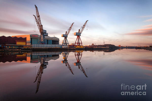 The Crane Photograph - Clydeside Cranes Long Exposure by John Farnan